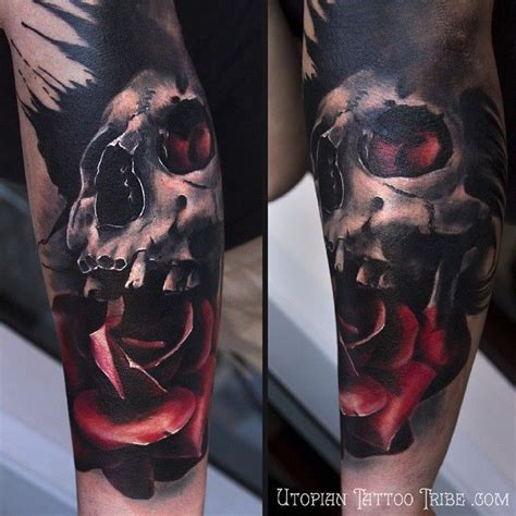 real looking rose tattoo colorful realistic looking forearm of human skull
