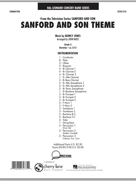 theme song sanford and son moss sanford and son theme sheet music complete