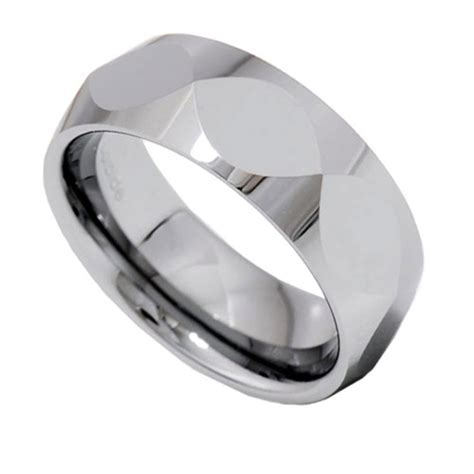 8mm christian fish faceted shiny tungsten carbide band