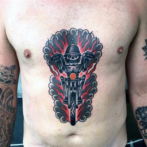 Tattoo Skelett Motorrad by 70 Biker Tattoos For Men Manly Motorcycle Ink Design Ideas