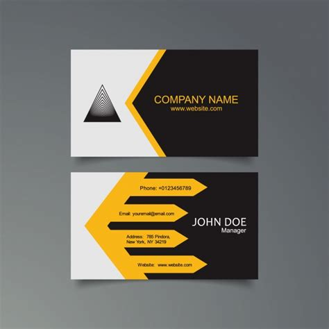 black business card template ai yellow black and white business card template vector
