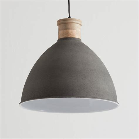 Wood Pendant Light Cement Grey And Wood Pendant Light By Horsfall Wright