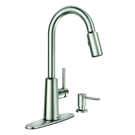 moen faucets kitchen moen nori stainless steel one handle pull spot resist 174 kitchen faucet with soap dispenser