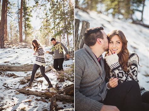 Barn Style snowy winter engagement session glamour amp grace