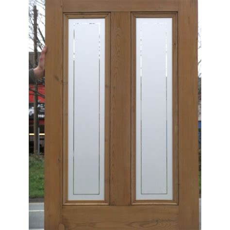 Etched Glass Doors Ed003 4 Panel Etched Glass Door With Clear Border Glass