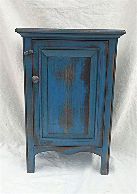 small cabinet small painted blue distressed cabinet