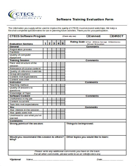 10 Sle Training Evaluation Forms In Doc Sle Templates Software Evaluation Template
