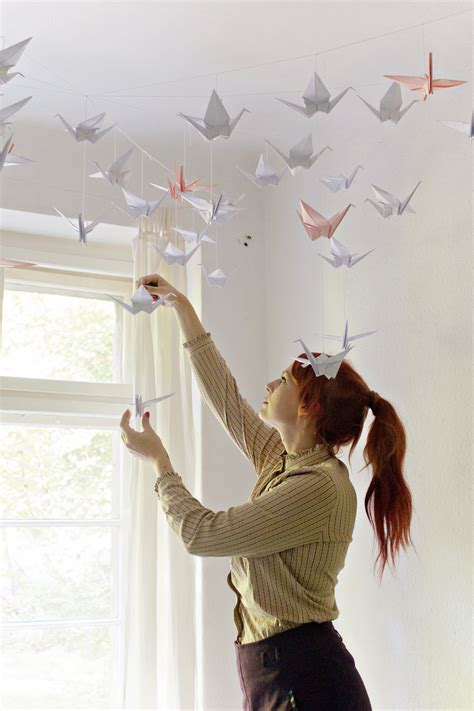 diy recycled decoration idea for hang on ceiling diy renters friendly origami ceiling decoration
