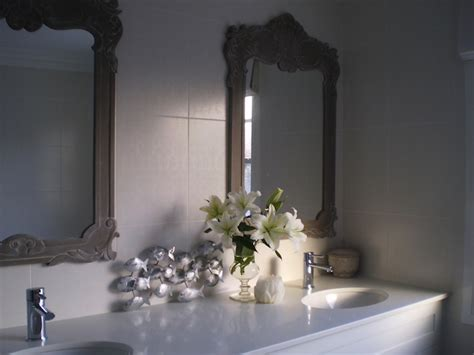 ornate bathroom mirrors gray ornate mirror transitional bathroom the house