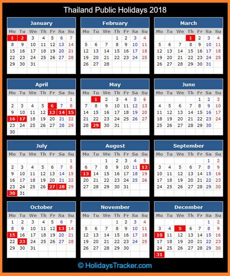 printable calendar 2018 thailand thailand public holidays 2018 holidays tracker