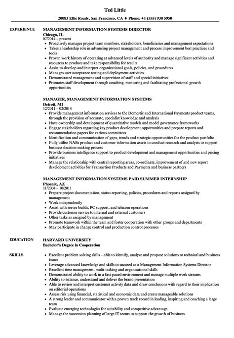 Management Information Processing Resume by Management Information Systems Resume Sles Velvet