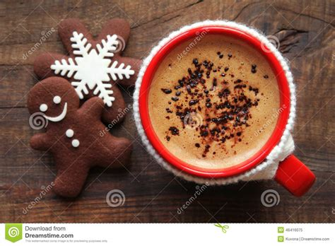 cafe natale morning coffee and cookies stock image image