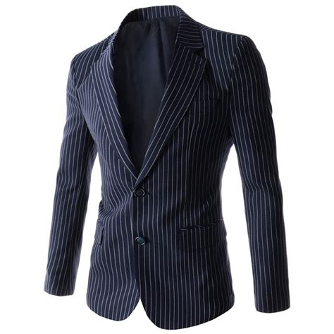 striped sleeve blazer grey navy 2016 new arrival striped mens blazer brand suit jacket slim fit casual black navy outwear coat