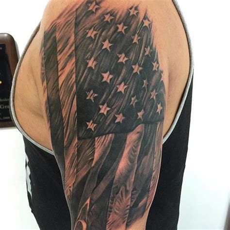 collection of 25 grey ink american flag tattoo on arm