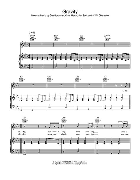 coldplay gravity lyrics gravity sheet music by coldplay piano vocal guitar
