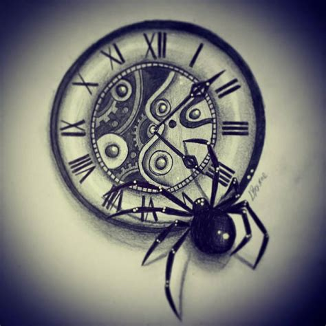 clock tattoo design clock and spider design by slightlyannoyed cake on