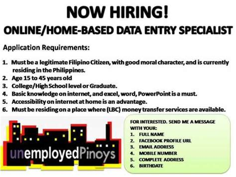 home based design jobs philippines data entry specialist encoder online work quezon city