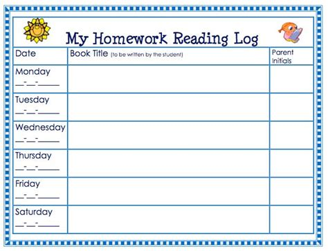 printable reading log 1st grade free homework reading log theorganizedclassroomblog com