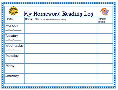 homework reading log template free homework reading log theorganizedclassroomblog