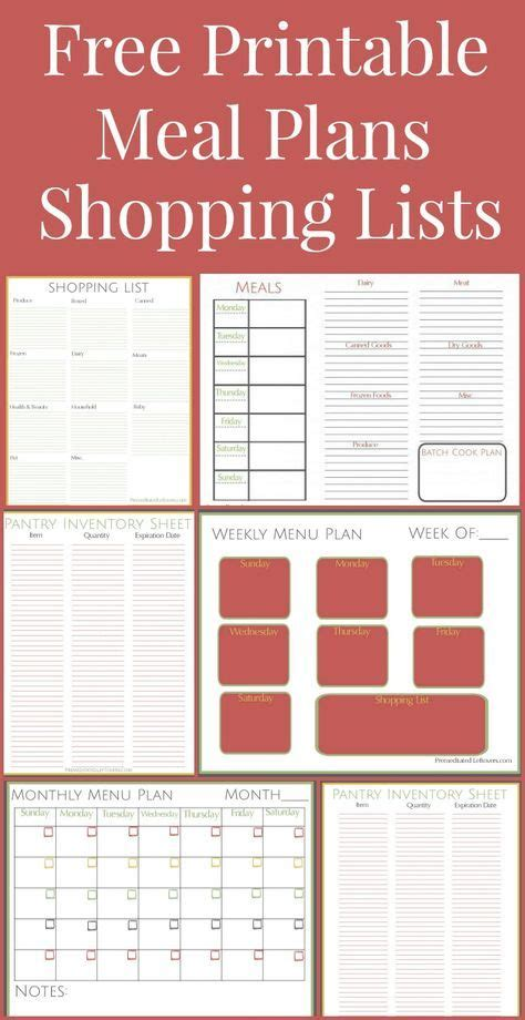 free printables pantry list weekly meal plans and