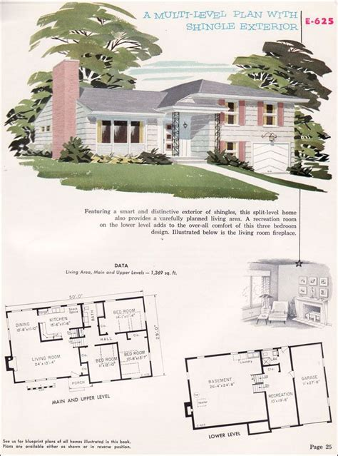 Split Level Home Plans 1950s Home Designs Split Level Cottage Style House Plans Floor Plans