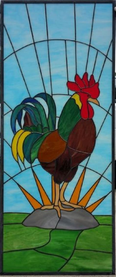 stained glass rooster l rooster stained glass panel stained glass windows