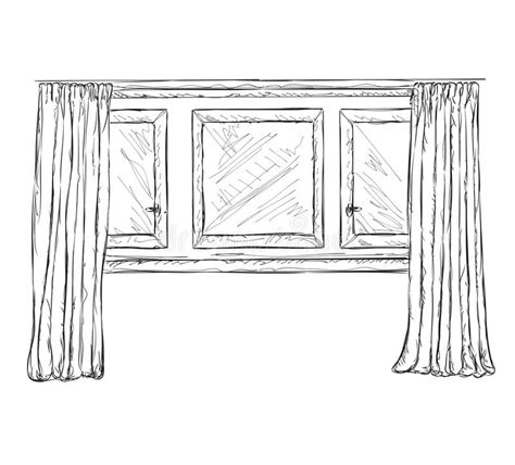 curtains drawn illustration of window and curtains sketch stock vector