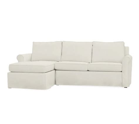 slipcovered sofa with chaise cameron slipcovered roll arm sofa with reversible chaise