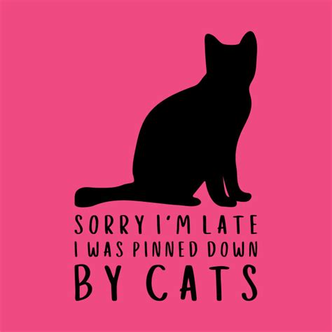 Sorry I M Late sorry i m late i was pinned by cats cat t shirt