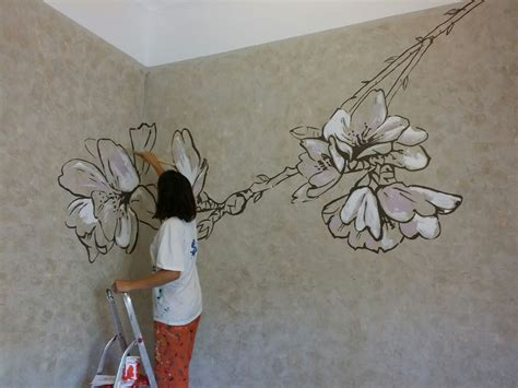 painting on wall almond flower wall painting anabeltra