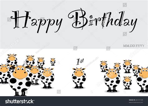cow birthday card template cow birthday card template stock vector 26131129