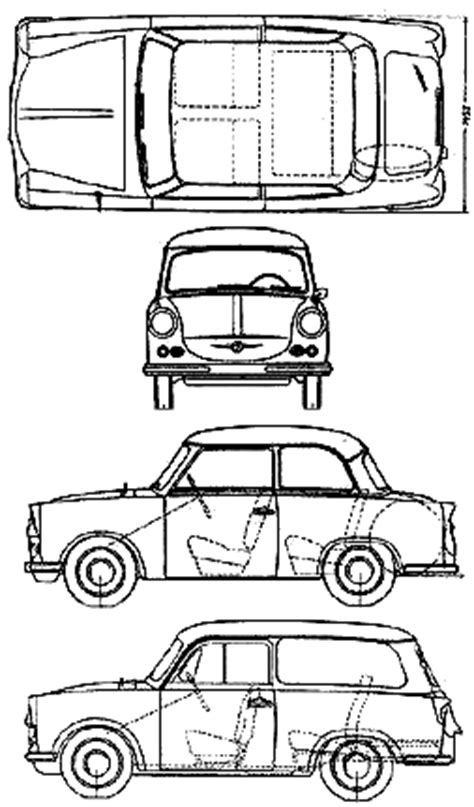 500 Sketches Pdf by Car Blueprints Trabant 500 Blueprints Vector Drawings
