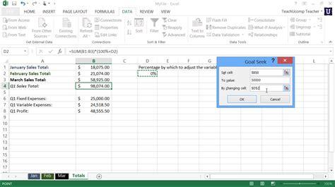 goal seek tutorial excel 2010 goal seek in excel tutorial teachucomp inc