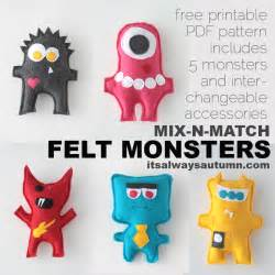 Creative Personalization free easy sewing pattern for felt monster dolls