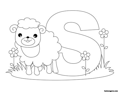 coloring pages alphabet animals free letter s lower case coloring pages