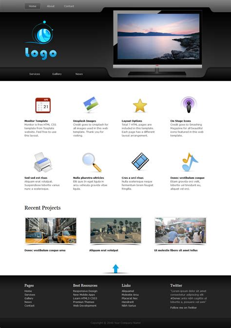 caign monitor html templates monitor free html css templates
