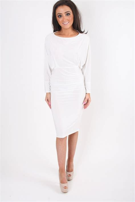 white long sleeve swing dress white long sleeved fitted body sculpting midi dress with
