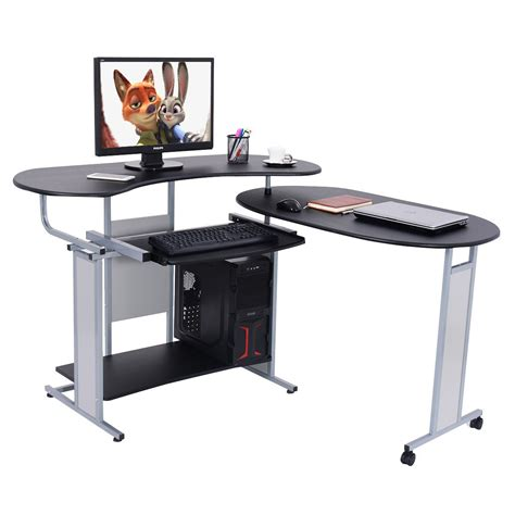 L Shaped Corner Computer Desk Lh Expandable L Shaped Computer Desk Pc Table Corner Workstation Home Office Ebay