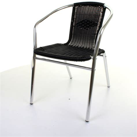 black wicker stacking chairs aluminium chrome bistro chair outdoor garden patio seating