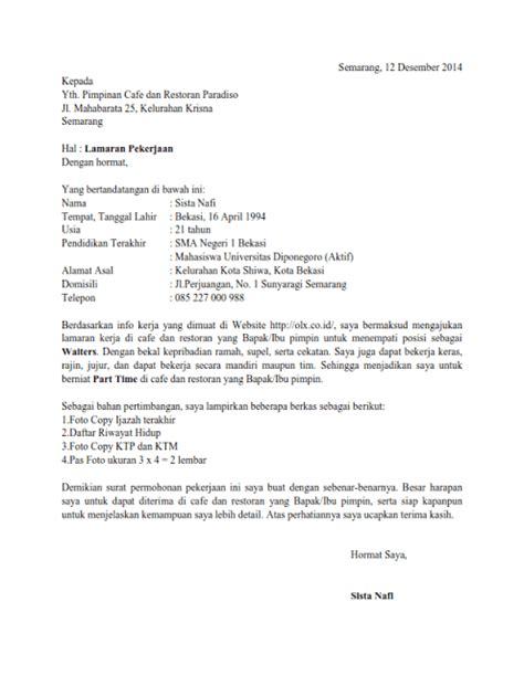 contoh surat lamaran kerja hotel yang benar dan terbaru