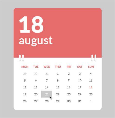 calendar design in css 26 html calendar templates free html psd css format