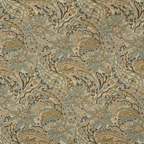 upholstery fabric paisley tan beige brown and teal paisley woven outdoor