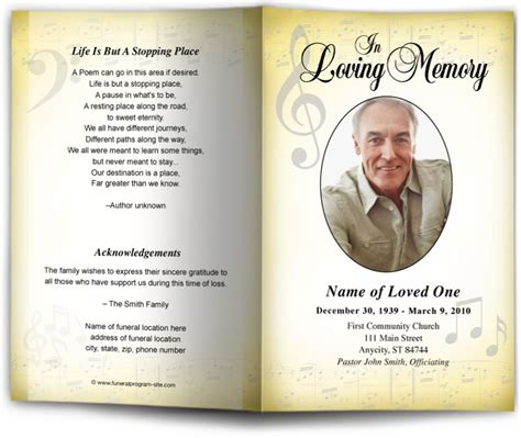 funeral bulletin template with music or song theme