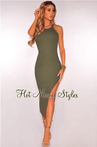 Knit Slit Midi Dress olive ribbed knit slit midi dress