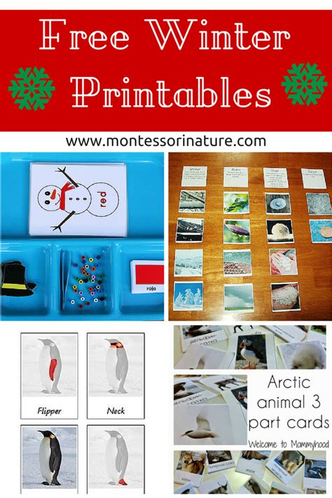printable montessori free winter printables for kids montessori nature