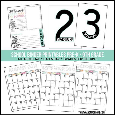 30 Handmade Days - free printable 2014 binder calendars