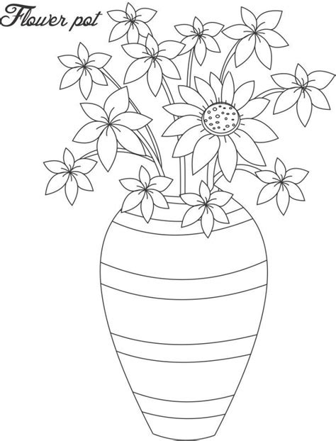 Drawing Of Flower Pot Drawing Art Library Simple Flower Pot Draw Color It