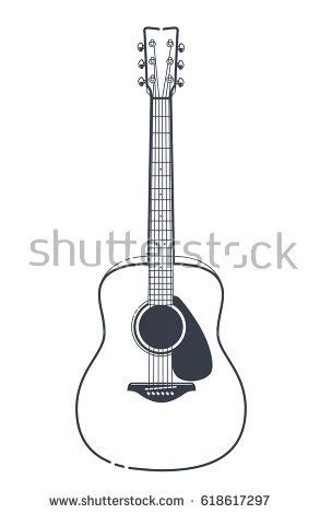 Acoustic Guitar Outline Drawing by Abstract Rocknroll Image Two Revolvers Guitar Stock Vector