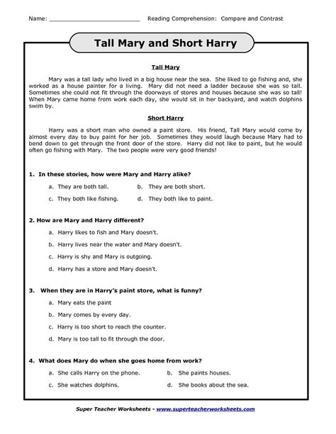 Compare And Contrast Worksheets 3rd Grade by 18 Best Images Of Worksheets Reading Blank