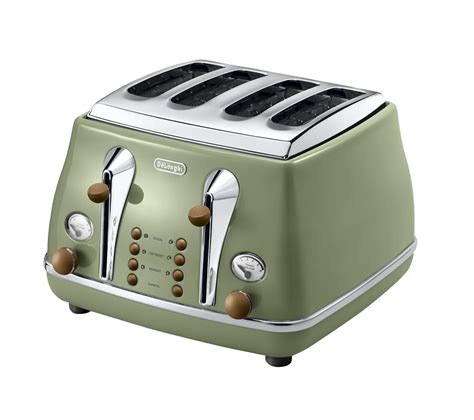 Delonghi Olive by Buy Delonghi Icona Vintage Ctov4003gr 4 Slice Toaster Olive Green Free Delivery Currys